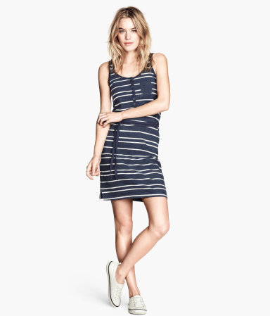 Jersey Dress - sleeve style: wide vest straps; length: mid thigh; pattern: horizontal stripes; waist detail: belted waist/tie at waist/drawstring; bust detail: buttons at bust (in middle at breastbone)/zip detail at bust; secondary colour: white; predominant colour: navy; occasions: casual, holiday; fit: body skimming; style: slip dress; neckline: scoop; fibres: cotton - 100%; sleeve length: sleeveless; pattern type: fabric; pattern size: standard; texture group: jersey - stretchy/drapey; season: s/s 2014