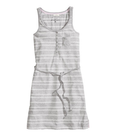 Jersey Dress - style: tunic; length: mid thigh; pattern: horizontal stripes; sleeve style: sleeveless; waist detail: belted waist/tie at waist/drawstring; bust detail: buttons at bust (in middle at breastbone)/zip detail at bust; secondary colour: blush; predominant colour: light grey; occasions: casual, holiday; fit: body skimming; neckline: scoop; sleeve length: sleeveless; pattern type: fabric; pattern size: standard; texture group: jersey - stretchy/drapey; season: s/s 2014