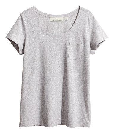 Top In Slub Jersey - neckline: round neck; pattern: plain; style: t-shirt; predominant colour: light grey; occasions: casual, holiday, creative work; length: standard; fibres: cotton - mix; fit: loose; sleeve length: short sleeve; sleeve style: standard; pattern type: fabric; texture group: jersey - stretchy/drapey; season: s/s 2014