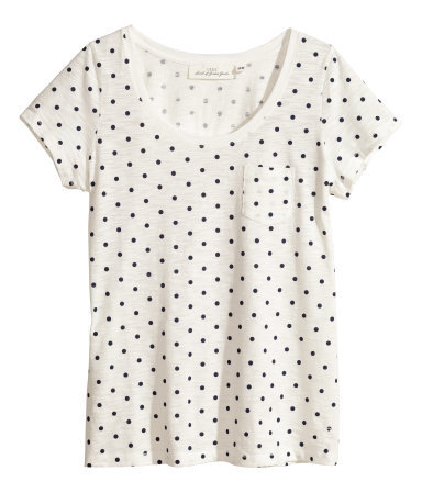 Top In Slub Jersey - neckline: round neck; style: t-shirt; pattern: polka dot; predominant colour: white; secondary colour: black; occasions: casual, holiday, creative work; length: standard; fibres: cotton - mix; fit: loose; sleeve length: short sleeve; sleeve style: standard; pattern type: fabric; pattern size: standard; texture group: jersey - stretchy/drapey; season: s/s 2014; trends: monochrome