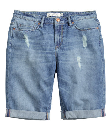 Denim Shorts - pattern: plain; waist: low rise; pocket detail: traditional 5 pocket; predominant colour: denim; occasions: casual, holiday; fibres: cotton - 100%; texture group: denim; pattern type: fabric; season: s/s 2014; style: denim; length: mid thigh shorts; fit: slim leg