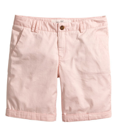 Chino Shorts - pattern: plain; waist: mid/regular rise; predominant colour: blush; occasions: casual, holiday; fibres: cotton - stretch; texture group: cotton feel fabrics; pattern type: fabric; season: s/s 2014; style: shorts; length: mid thigh shorts; fit: slim leg
