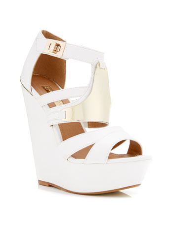 Margo Metallic Wedge - predominant colour: white; secondary colour: gold; occasions: evening; material: faux leather; ankle detail: ankle strap; heel: wedge; toe: open toe/peeptoe; style: strappy; finish: plain; pattern: plain; embellishment: chain/metal; heel height: very high; shoe detail: platform; season: s/s 2014