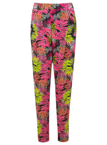 Tropcail Jogger - length: standard; style: tracksuit pants; waist: mid/regular rise; predominant colour: hot pink; secondary colour: lime; occasions: casual, creative work; fibres: viscose/rayon - stretch; fit: slim leg; pattern type: fabric; pattern: florals; texture group: jersey - stretchy/drapey; trends: hot brights, furious florals; season: s/s 2014; pattern size: standard (bottom)