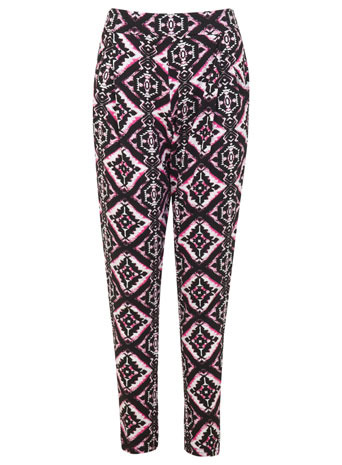 Pink Tile Jogger - length: standard; style: tracksuit pants; pocket detail: pockets at the sides; waist: mid/regular rise; secondary colour: hot pink; predominant colour: black; occasions: casual; fibres: viscose/rayon - stretch; fit: tapered; pattern type: fabric; pattern: patterned/print; texture group: woven light midweight; trends: world traveller; season: s/s 2014; pattern size: big & busy (bottom)