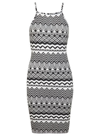 90s Aztec Mini Dress - length: mid thigh; fit: tight; sleeve style: sleeveless; style: bodycon; neckline: asymmetric; secondary colour: white; predominant colour: black; occasions: evening; fibres: viscose/rayon - stretch; sleeve length: sleeveless; texture group: jersey - clingy; pattern type: fabric; pattern size: big & busy; pattern: patterned/print; trends: world traveller, monochrome; season: s/s 2014