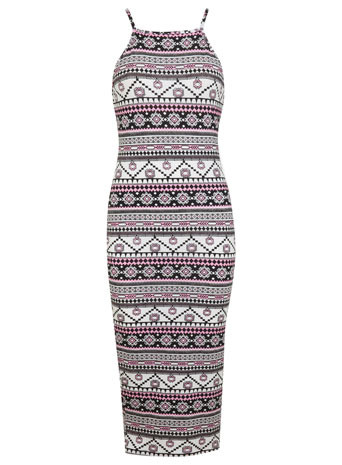 90s Pink Aztec Midi Dress - length: below the knee; neckline: high square neck; sleeve style: spaghetti straps; fit: tight; style: bodycon; secondary colour: hot pink; predominant colour: black; occasions: casual, evening; fibres: viscose/rayon - stretch; sleeve length: sleeveless; texture group: jersey - clingy; pattern type: fabric; pattern size: big & busy; pattern: patterned/print; trends: world traveller; season: s/s 2014