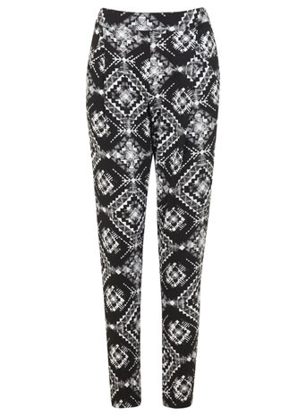 Monochrome Tile Jogger - length: standard; style: tracksuit pants; waist: high rise; secondary colour: white; predominant colour: black; occasions: casual, creative work; fibres: viscose/rayon - stretch; fit: slim leg; pattern type: fabric; pattern: patterned/print; texture group: jersey - stretchy/drapey; trends: world traveller, monochrome; season: s/s 2014; pattern size: big & busy (bottom)