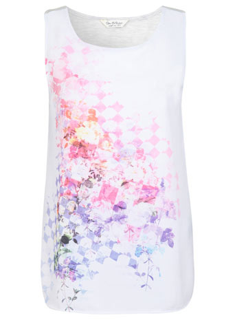 Floral Satin Front Tee - neckline: round neck; sleeve style: sleeveless; style: vest top; back detail: contrast pattern/fabric at back; occasions: casual; length: standard; fibres: polyester/polyamide - mix; fit: straight cut; predominant colour: multicoloured; sleeve length: sleeveless; texture group: silky - light; pattern type: fabric; pattern size: standard; pattern: patterned/print; season: s/s 2014; multicoloured: multicoloured