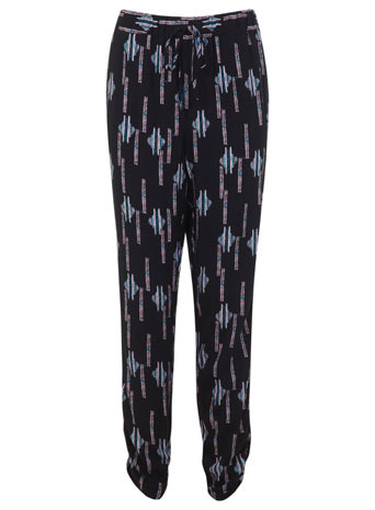 Navajo Print Trouser - style: peg leg; waist: mid/regular rise; secondary colour: black; occasions: casual; length: ankle length; fibres: polyester/polyamide - 100%; predominant colour: multicoloured; fit: baggy; pattern type: fabric; pattern: patterned/print; texture group: other - light to midweight; season: s/s 2014; pattern size: standard (bottom); multicoloured: multicoloured