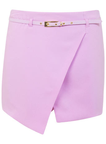Belted Skort - length: mini; pattern: plain; fit: tailored/fitted; style: skorts; waist detail: belted waist/tie at waist/drawstring; waist: mid/regular rise; predominant colour: lilac; occasions: evening, creative work; fibres: polyester/polyamide - stretch; texture group: crepes; pattern type: fabric; trends: sorbet shades; season: s/s 2014