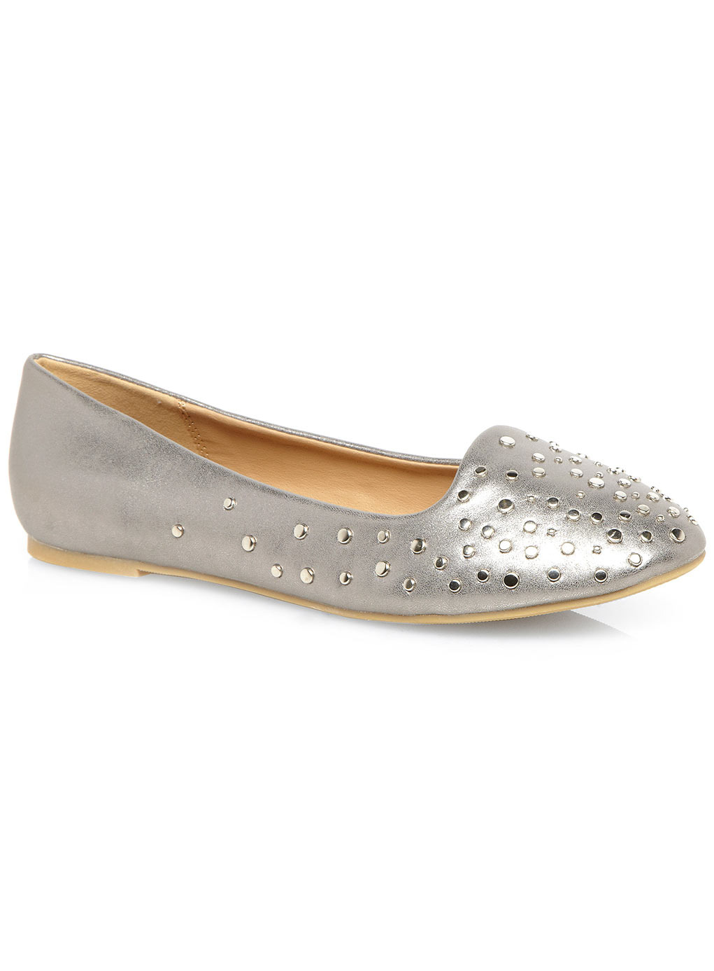 Pewter Metallic Studded Slipper Shoes - predominant colour: silver; occasions: casual, evening, creative work; material: faux leather; heel height: flat; embellishment: studs; toe: round toe; style: ballerinas / pumps; finish: metallic; pattern: plain; trends: shimmery metallics; season: s/s 2014