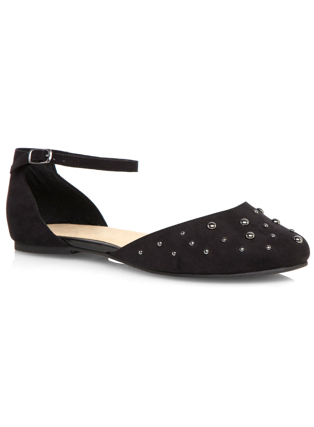 Gracie Black Studded Open Pump - predominant colour: black; occasions: casual, creative work; material: faux leather; heel height: flat; embellishment: studs; ankle detail: ankle strap; toe: round toe; style: ballerinas / pumps; finish: plain; pattern: plain; season: s/s 2014