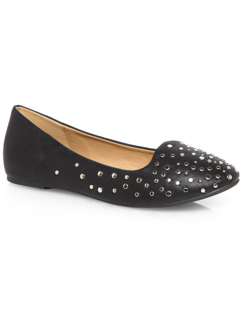Black Metallic Studded Slipper Shoes - secondary colour: silver; predominant colour: black; occasions: casual, creative work; material: faux leather; heel height: flat; embellishment: studs; toe: round toe; style: ballerinas / pumps; finish: plain; pattern: plain; season: s/s 2014