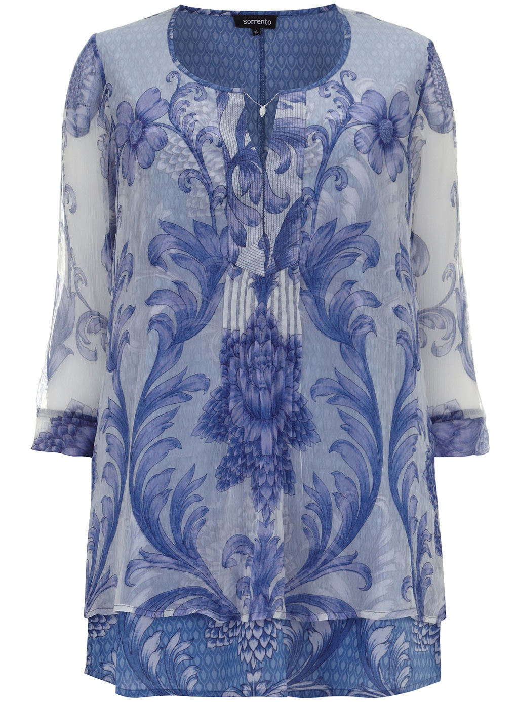 Sorrento Blue And White Kaftan Top - neckline: round neck; length: below the bottom; style: tunic; secondary colour: white; predominant colour: royal blue; occasions: casual, creative work; fibres: viscose/rayon - 100%; fit: loose; sleeve length: 3/4 length; sleeve style: standard; texture group: sheer fabrics/chiffon/organza etc.; pattern type: fabric; pattern: patterned/print; trends: sheer; season: s/s 2014; pattern size: big & busy (top)