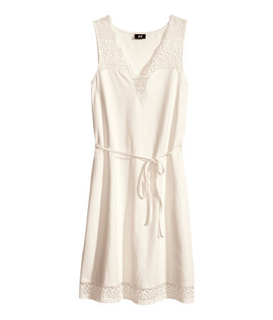 Lace Dress - neckline: low v-neck; pattern: plain; sleeve style: sleeveless; style: sundress; waist detail: belted waist/tie at waist/drawstring; predominant colour: ivory/cream; occasions: casual, holiday; length: just above the knee; fit: body skimming; fibres: cotton - 100%; sleeve length: sleeveless; pattern type: fabric; texture group: jersey - stretchy/drapey; embellishment: lace; season: s/s 2014; wardrobe: highlight; embellishment location: hem, shoulder