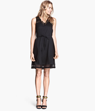 Lace Dress - neckline: v-neck; fit: loose; pattern: plain; sleeve style: sleeveless; style: sundress; waist detail: belted waist/tie at waist/drawstring; predominant colour: black; occasions: casual, evening, holiday, creative work; length: just above the knee; fibres: cotton - 100%; sleeve length: sleeveless; texture group: cotton feel fabrics; pattern type: fabric; embellishment: lace; season: s/s 2014; wardrobe: highlight; embellishment location: hem, shoulder