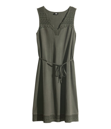 Lace Dress - length: mid thigh; neckline: low v-neck; pattern: plain; sleeve style: sleeveless; style: sundress; waist detail: belted waist/tie at waist/drawstring; predominant colour: khaki; occasions: casual, evening, holiday, creative work; fit: body skimming; fibres: cotton - 100%; sleeve length: sleeveless; texture group: cotton feel fabrics; pattern type: fabric; embellishment: lace; season: s/s 2014; wardrobe: highlight; embellishment location: hem, shoulder