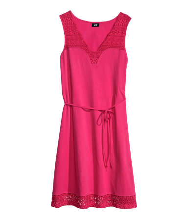 Lace Dress - style: tunic; length: mid thigh; neckline: v-neck; fit: loose; pattern: plain; sleeve style: sleeveless; waist detail: belted waist/tie at waist/drawstring; predominant colour: hot pink; occasions: casual, evening, holiday; fibres: cotton - 100%; sleeve length: sleeveless; pattern type: fabric; texture group: jersey - stretchy/drapey; embellishment: lace; season: s/s 2014; wardrobe: highlight; embellishment location: hem, shoulder