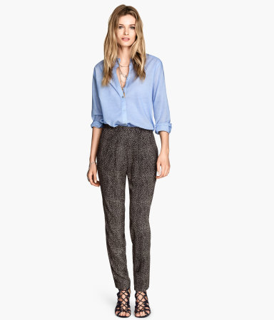 Trousers Loose Fit - length: standard; style: harem/slouch; waist: mid/regular rise; predominant colour: charcoal; occasions: casual, creative work; fibres: viscose/rayon - 100%; fit: slim leg; pattern type: fabric; pattern: patterned/print; texture group: other - light to midweight; season: s/s 2014; pattern size: standard (bottom)