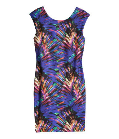 Patterned Dress - length: mini; fit: tight; sleeve style: sleeveless; style: bodycon; occasions: evening; fibres: polyester/polyamide - stretch; neckline: crew; predominant colour: multicoloured; sleeve length: sleeveless; texture group: jersey - clingy; pattern type: fabric; pattern size: big & busy; pattern: patterned/print; season: s/s 2014; multicoloured: multicoloured