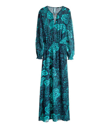 Patterned Long Dress - neckline: v-neck; fit: fitted at waist; style: maxi dress; length: ankle length; sleeve style: balloon; predominant colour: turquoise; occasions: casual, holiday; fibres: polyester/polyamide - 100%; sleeve length: long sleeve; texture group: sheer fabrics/chiffon/organza etc.; pattern type: fabric; pattern size: big & busy; pattern: florals; season: s/s 2014