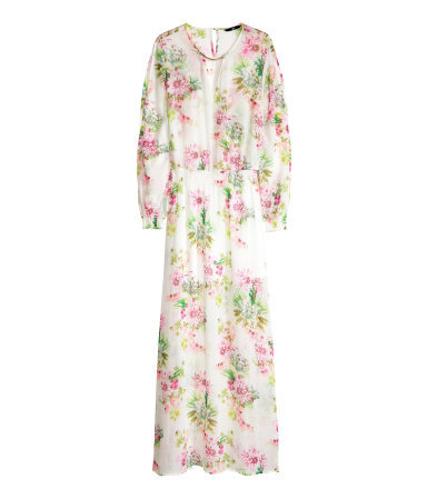 Patterned Long Dress - neckline: low v-neck; fit: fitted at waist; style: maxi dress; length: ankle length; occasions: casual, holiday; fibres: polyester/polyamide - 100%; predominant colour: multicoloured; sleeve length: long sleeve; sleeve style: standard; texture group: sheer fabrics/chiffon/organza etc.; pattern type: fabric; pattern size: standard; pattern: florals; season: s/s 2014; multicoloured: multicoloured