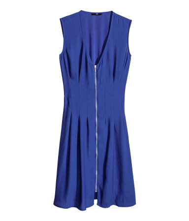 Sleeveless Dress - style: shift; length: mid thigh; neckline: low v-neck; fit: tailored/fitted; pattern: plain; sleeve style: sleeveless; predominant colour: royal blue; occasions: casual, evening; fibres: polyester/polyamide - 100%; sleeve length: sleeveless; pattern type: fabric; texture group: woven light midweight; trends: hot brights; season: s/s 2014