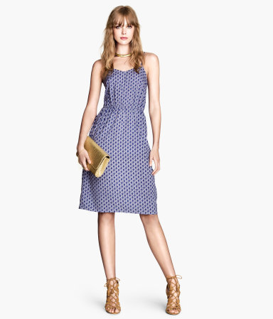 Knee Length Dress - neckline: low v-neck; sleeve style: spaghetti straps; fit: fitted at waist; style: sundress; secondary colour: royal blue; predominant colour: pale blue; occasions: casual, holiday; length: on the knee; fibres: polyester/polyamide - 100%; sleeve length: sleeveless; pattern type: fabric; pattern size: standard; pattern: patterned/print; texture group: other - light to midweight; season: s/s 2014