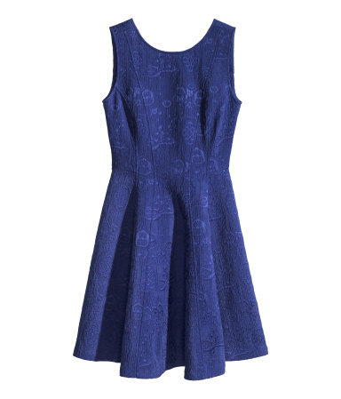 Sleeveless Dress - length: mid thigh; neckline: round neck; pattern: plain; sleeve style: sleeveless; predominant colour: royal blue; occasions: evening, occasion, creative work; fit: fitted at waist & bust; style: fit & flare; fibres: polyester/polyamide - stretch; hip detail: adds bulk at the hips; sleeve length: sleeveless; pattern type: fabric; texture group: brocade/jacquard; season: s/s 2014