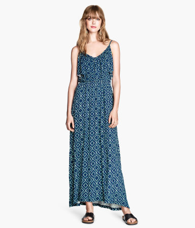 Maxi Dress With A Frill - neckline: low v-neck; sleeve style: spaghetti straps; fit: fitted at waist; style: maxi dress; length: ankle length; waist detail: elasticated waist; secondary colour: navy; predominant colour: turquoise; occasions: casual, holiday; fibres: viscose/rayon - 100%; hip detail: soft pleats at hip/draping at hip/flared at hip; sleeve length: sleeveless; pattern type: fabric; pattern size: standard; pattern: patterned/print; texture group: jersey - stretchy/drapey; season: s/s 2014