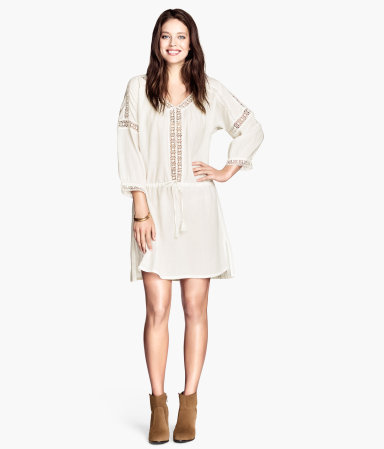 Cotton Tunic With Lace - style: tunic; length: mid thigh; neckline: low v-neck; fit: loose; pattern: plain; waist detail: drop waist; predominant colour: ivory/cream; occasions: casual, holiday; fibres: cotton - 100%; sleeve length: 3/4 length; sleeve style: standard; texture group: cotton feel fabrics; pattern type: fabric; embellishment: lace; season: s/s 2014; wardrobe: highlight; embellishment location: bust, sleeve/cuff
