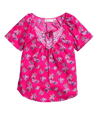 Embroidered Blouse - neckline: round neck; occasions: casual, holiday; length: standard; style: top; fibres: cotton - 100%; fit: straight cut; predominant colour: multicoloured; sleeve length: short sleeve; sleeve style: standard; texture group: cotton feel fabrics; pattern type: fabric; pattern size: standard; pattern: florals; embellishment: embroidered; season: s/s 2014; multicoloured: multicoloured