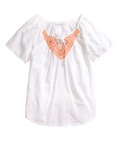 Embroidered Blouse - neckline: round neck; pattern: plain; predominant colour: white; secondary colour: coral; occasions: casual, holiday; length: standard; style: top; fibres: cotton - 100%; fit: straight cut; sleeve length: short sleeve; sleeve style: standard; texture group: cotton feel fabrics; pattern type: fabric; embellishment: embroidered; season: s/s 2014