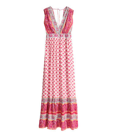 Patterned Dress - neckline: v-neck; fit: empire; sleeve style: sleeveless; style: maxi dress; back detail: back revealing; predominant colour: pink; secondary colour: nude; length: floor length; fibres: viscose/rayon - 100%; hip detail: subtle/flattering hip detail; sleeve length: sleeveless; occasions: holiday; pattern type: fabric; pattern size: standard; pattern: patterned/print; texture group: jersey - stretchy/drapey; season: s/s 2014