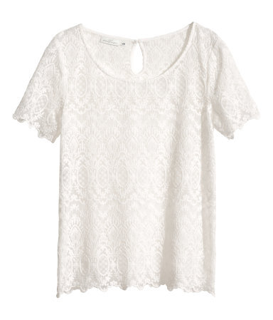 Lace Top - style: t-shirt; predominant colour: ivory/cream; occasions: casual, creative work; length: standard; neckline: scoop; fibres: cotton - mix; fit: straight cut; back detail: keyhole/peephole detail at back; sleeve length: short sleeve; sleeve style: standard; texture group: lace; pattern type: fabric; pattern: patterned/print; trends: lace; season: s/s 2014