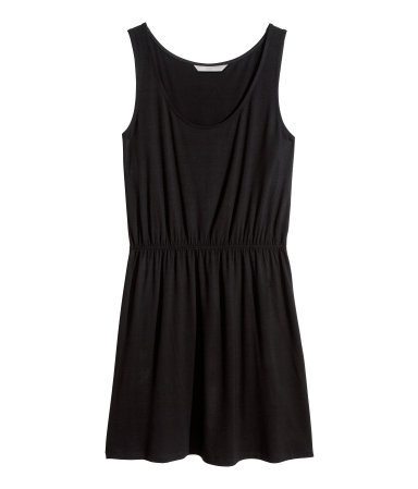 + Jersey Dress - length: mid thigh; sleeve style: standard vest straps/shoulder straps; fit: fitted at waist; pattern: plain; waist detail: elasticated waist; style: vest; predominant colour: black; occasions: casual, holiday; neckline: scoop; fibres: viscose/rayon - stretch; sleeve length: sleeveless; pattern type: fabric; texture group: jersey - stretchy/drapey; season: s/s 2014