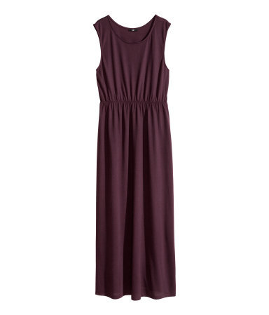 + Maxi Dress - pattern: plain; sleeve style: sleeveless; style: maxi dress; length: ankle length; predominant colour: aubergine; occasions: casual, holiday; fit: body skimming; neckline: scoop; fibres: polyester/polyamide - 100%; hip detail: soft pleats at hip/draping at hip/flared at hip; sleeve length: sleeveless; pattern type: fabric; texture group: jersey - stretchy/drapey; season: s/s 2014