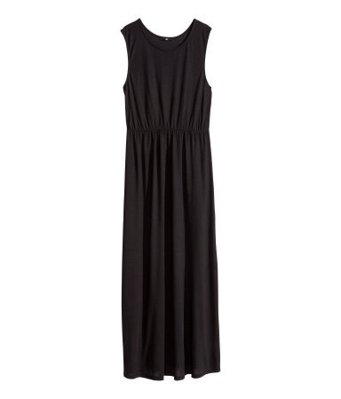 + Maxi Dress - neckline: round neck; fit: fitted at waist; pattern: plain; sleeve style: sleeveless; style: maxi dress; length: ankle length; waist detail: elasticated waist; predominant colour: black; occasions: casual, holiday; fibres: polyester/polyamide - 100%; sleeve length: sleeveless; pattern type: fabric; texture group: jersey - stretchy/drapey; season: s/s 2014