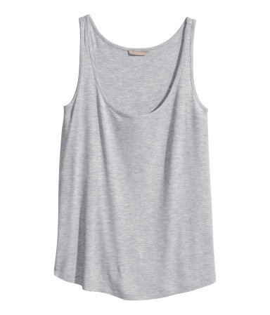 + Top In Slub Jersey - sleeve style: standard vest straps/shoulder straps; pattern: plain; style: vest top; predominant colour: light grey; occasions: casual, holiday; length: standard; neckline: scoop; fibres: viscose/rayon - 100%; fit: loose; sleeve length: sleeveless; texture group: jersey - stretchy/drapey; season: s/s 2014