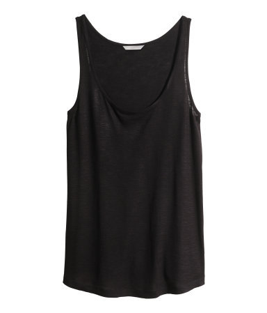 + Top In Slub Jersey - pattern: plain; sleeve style: sleeveless; length: below the bottom; style: vest top; predominant colour: black; occasions: casual; neckline: scoop; fibres: viscose/rayon - 100%; fit: loose; sleeve length: sleeveless; pattern type: fabric; texture group: jersey - stretchy/drapey; season: s/s 2014