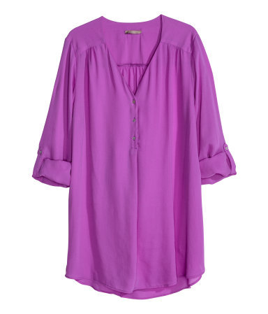 + Tunic - neckline: v-neck; pattern: plain; length: below the bottom; style: blouse; predominant colour: magenta; occasions: casual, creative work; fibres: polyester/polyamide - 100%; fit: loose; sleeve length: 3/4 length; sleeve style: standard; texture group: sheer fabrics/chiffon/organza etc.; pattern type: fabric; season: s/s 2014