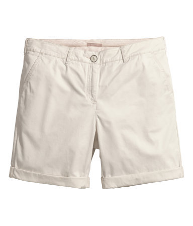 + Chino Shorts - pattern: plain; pocket detail: traditional 5 pocket; waist: mid/regular rise; predominant colour: stone; occasions: casual, holiday, creative work; fibres: cotton - stretch; texture group: cotton feel fabrics; pattern type: fabric; season: s/s 2014; style: shorts; length: mid thigh shorts; fit: slim leg