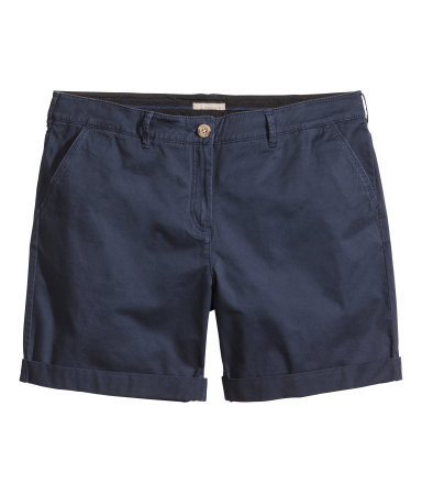 + Chino Shorts - pattern: plain; pocket detail: pockets at the sides; waist: mid/regular rise; predominant colour: navy; occasions: casual, holiday, creative work; fibres: cotton - stretch; texture group: cotton feel fabrics; pattern type: fabric; season: s/s 2014; style: shorts; length: mid thigh shorts; fit: slim leg