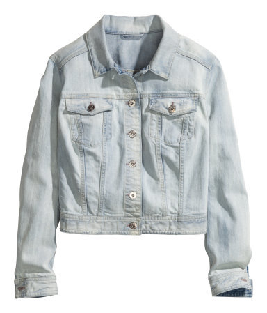 + Denim Jacket - pattern: plain; style: denim; fit: slim fit; predominant colour: pale blue; occasions: casual, creative work; length: standard; fibres: cotton - stretch; collar: shirt collar/peter pan/zip with opening; sleeve length: long sleeve; sleeve style: standard; texture group: denim; collar break: high/illusion of break when open; pattern type: fabric; season: s/s 2014