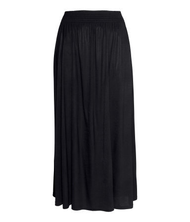+ Maxi Skirt - pattern: plain; fit: loose/voluminous; waist detail: elasticated waist; waist: high rise; predominant colour: black; occasions: casual, evening, holiday; length: floor length; style: maxi skirt; fibres: viscose/rayon - stretch; hip detail: subtle/flattering hip detail; pattern type: fabric; texture group: jersey - stretchy/drapey; season: s/s 2014; wardrobe: basic