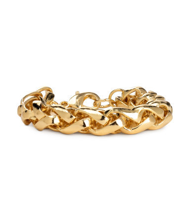 Bracelet - predominant colour: gold; occasions: casual, evening, work, occasion, creative work; style: chain; size: large/oversized; material: chain/metal; finish: metallic; season: s/s 2014