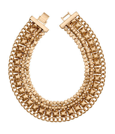 Short Necklace - predominant colour: gold; occasions: evening, occasion, creative work; style: choker/collar/torque; length: short; size: large/oversized; material: chain/metal; finish: metallic; season: s/s 2014