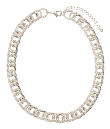 Chain Necklace - predominant colour: silver; occasions: casual, evening, work, occasion, holiday, creative work; length: short; size: standard; material: chain/metal; finish: metallic; season: s/s 2014; style: chain (no pendant)