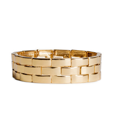 Elasticated Bracelet - predominant colour: gold; occasions: evening, occasion, creative work; style: chain; size: standard; material: chain/metal; finish: metallic; season: s/s 2014